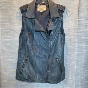 Lucky Brand 100% leather moto vest in blue, XS